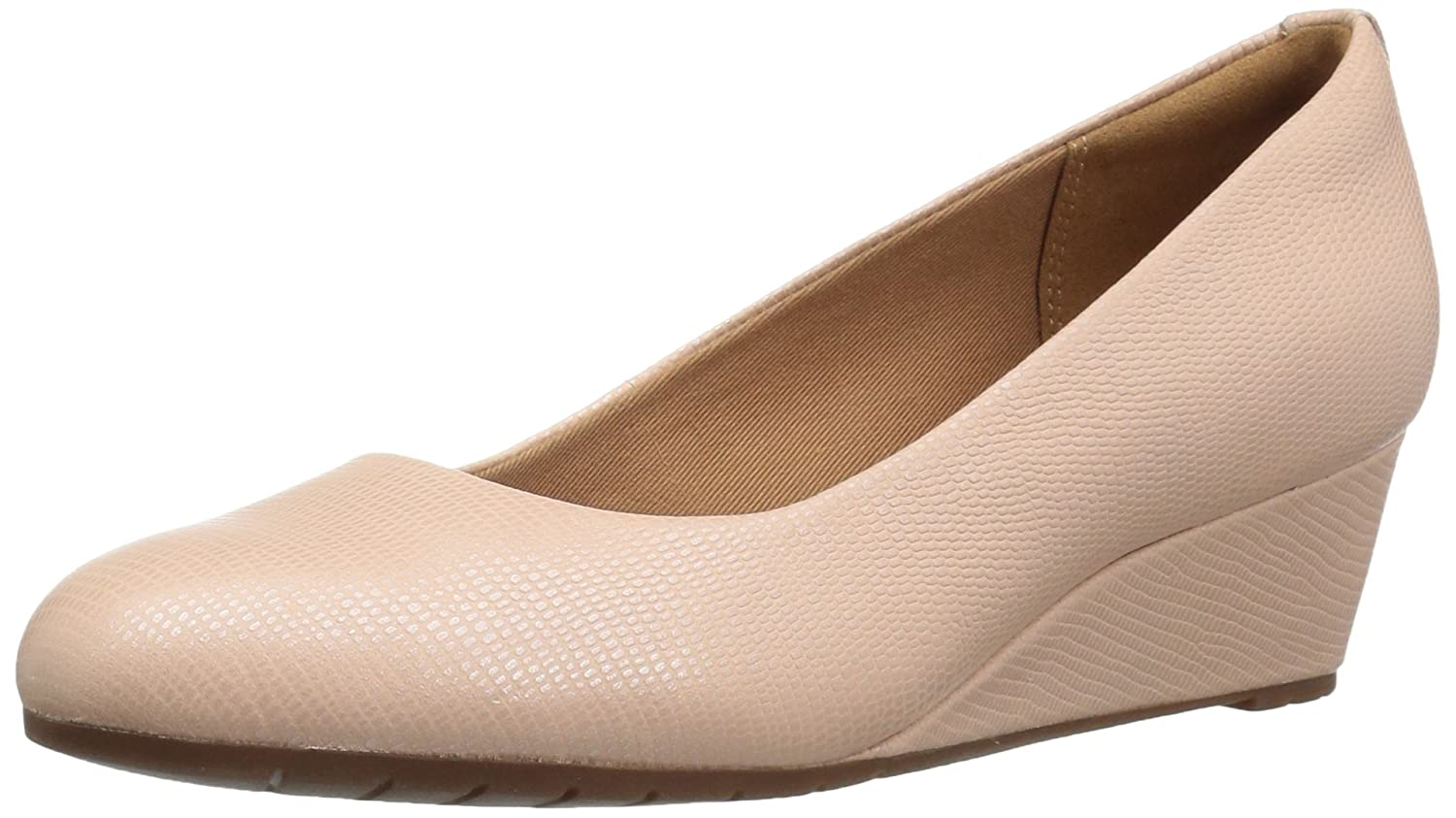 CLARKS Women's Vendra Bloom Wedge Pump B01IAMPO82 9 N US|Dusty Pink Lizard Leather