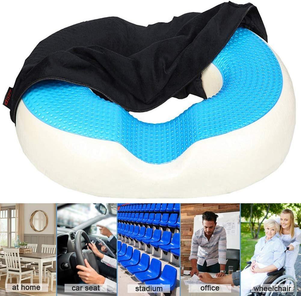 NXW Cojín de Asiento Ortopédico Capa de Gel Espuma de Memoria para Soporte Cojin Coxis para Presión,Úlceras,etc para el Coche,Oficina o Silla de Ruedas