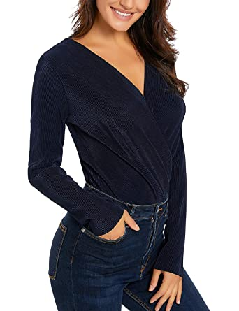 e9cf049cc3 Amazon.com  Lookbook Store Women s Long Sleeve Wrap V Neck Ribbed Bodysuit  Jumpsuit Tops Blouses Blue Size XX-Large (US 20-22)  Clothing