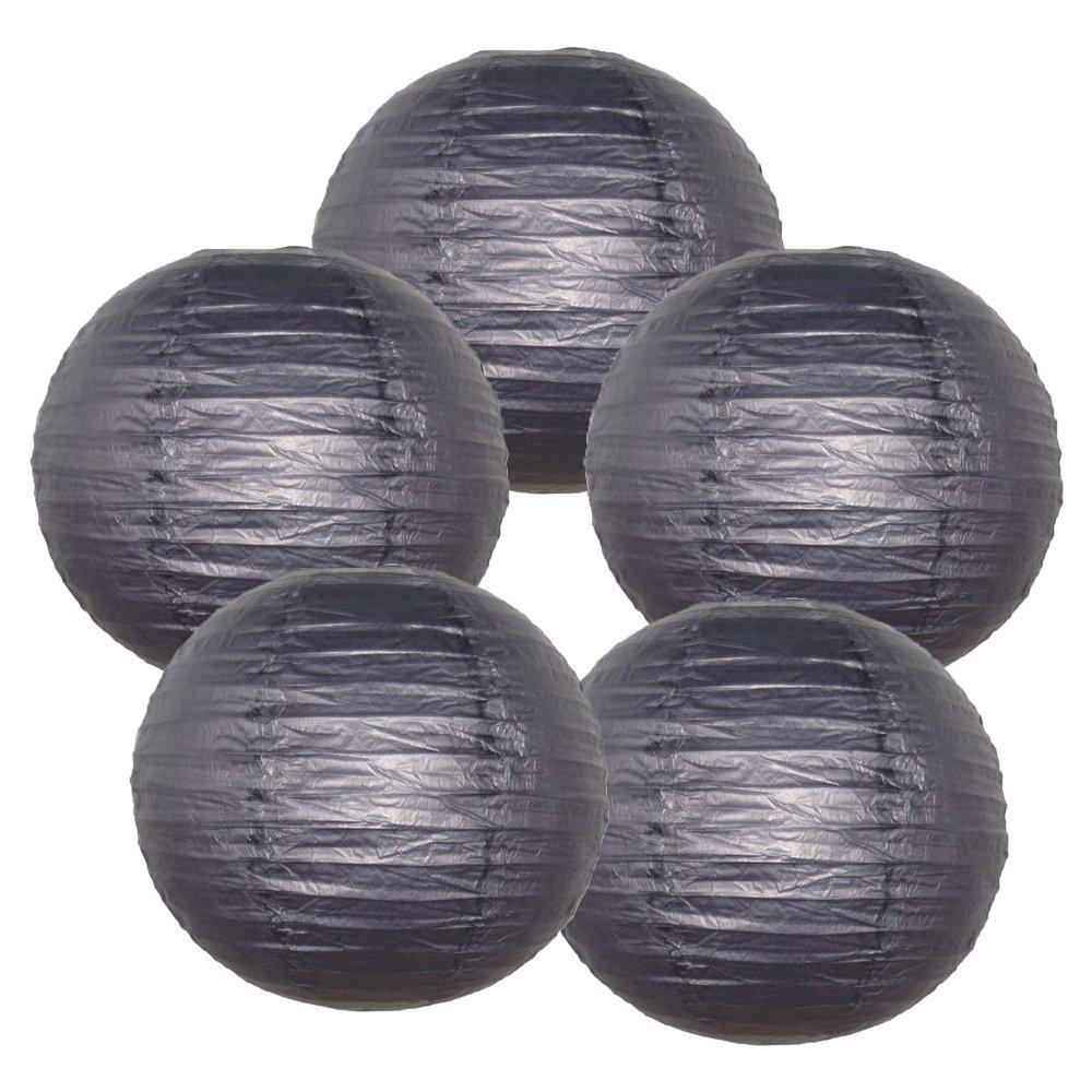 Just Artifacts ペーパーランタン5点セット - (6インチ - 24インチ) 20inch AMZ-RPL5-200014 B01CEX7W7E 20inch|ブラック ブラック 20inch