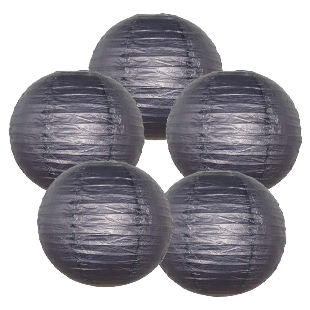 Just Artifacts ペーパーランタン5点セット - (6インチ - 24インチ) 18inch AMZ-RPL5-180014 B01CEX66BW 18inch|ブラック ブラック 18inch