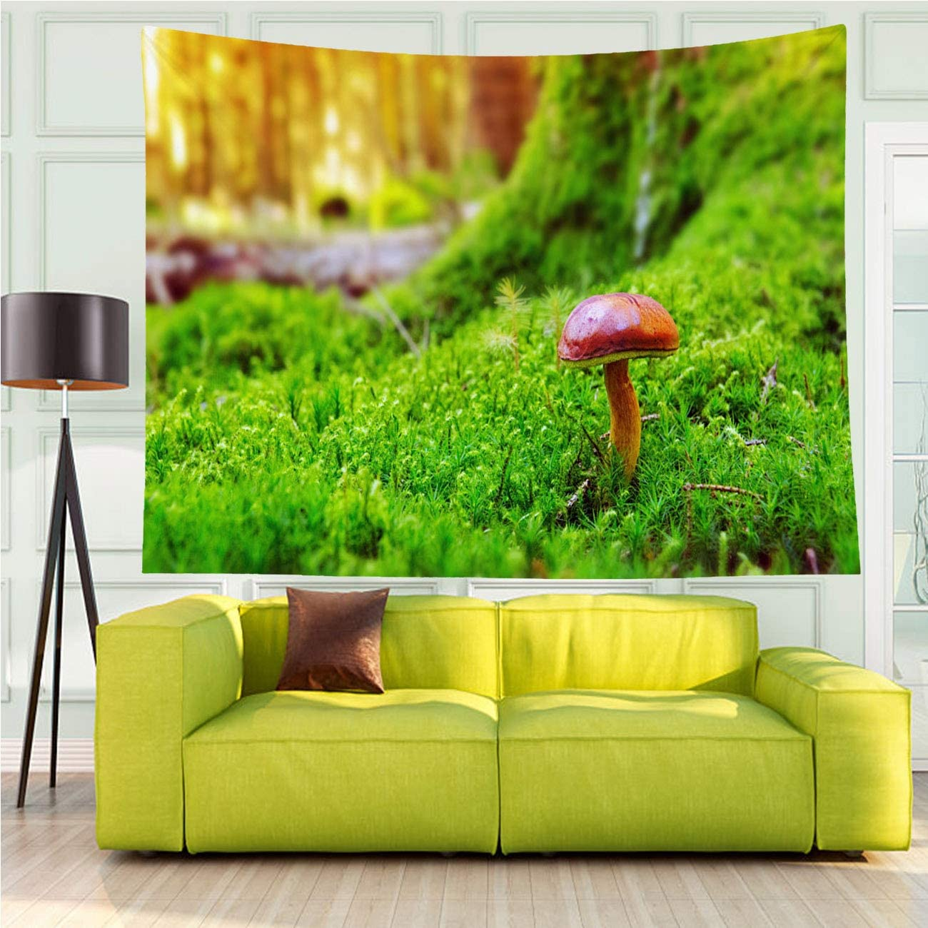 MinGz Tapestry Versatile,Mushroom in Green Moss,Tapestry for Living Room Bedroom Dorm Home Decor,80x60 in