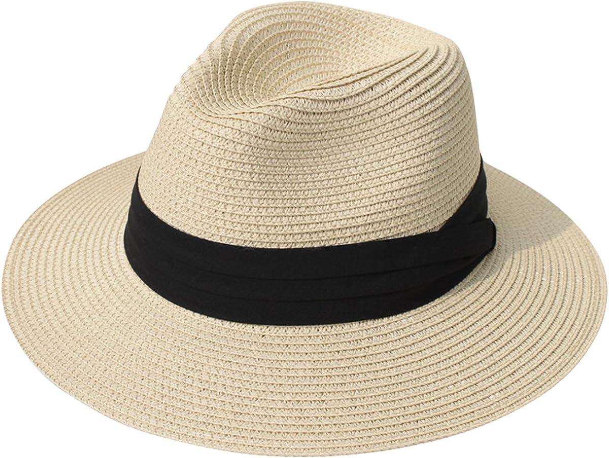 Lanzom Women Wide Brim Straw Panama Roll up Hat Fedora Beach Sun Hat UPF50+ (Khaki) One Size at  Women's Clothing store