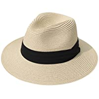 Women Wide Brim Straw Panama Roll up Hat Fedora Beach Sun Hat UPF50+