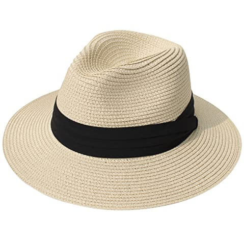 46aa7d3f39854b Lanzom Women Wide Brim Straw Panama Roll up Hat Fedora Beach Sun Hat UPF50+