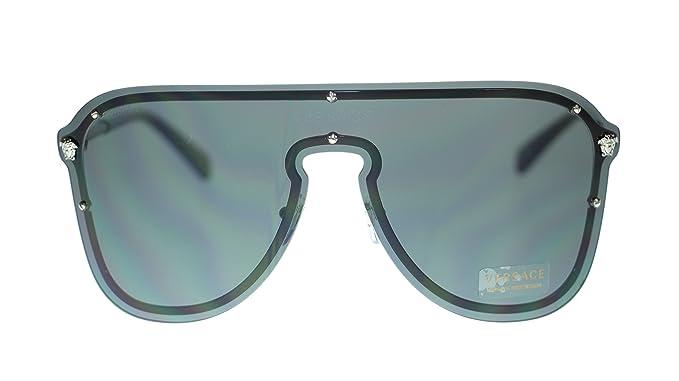 349ecb5f2d Image Unavailable. Image not available for. Colour  Versace Pilot Women  Sunglasses VE2180 100087 Silver Grey Authentic 44mm