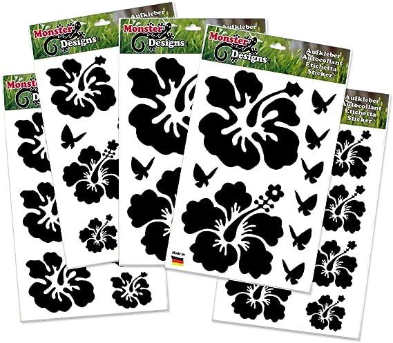 Hibiskus Schmetterling 40 Stück Set Autoaufkleber Blumen Aufkleber Schwarz Sport Freizeit