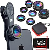 Clip-on Lens Kit 7 in 1, Whyzyv smartphone & iPhone camera lens kit. Super Wide Angle, Fisheye, Macro, Kaleidoscope, CPL, Zoom, Wide 0.63x + NECK LANYARD. Cell phone camera lens for iPhone, Samsung.