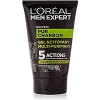 L'Oréal Men Expert - Pur Charbon - Gel Nettoyant Multi-Purifiant Visage Homme - Peaux Grasses - 100 ml