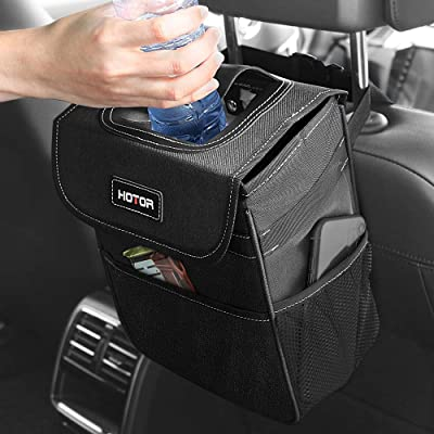 HOTOR Car Trash Can with Lid and Storage Pockets, 100% Leak-Proof Car Organizer, Waterproof Car Garbage Can, Multipurpose Trash Bin for Car - Black: Automotive [5Bkhe2001673]