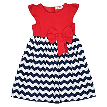 Bella Moda Round Neck Multi Color Cape Sleeves Casual Printed A- Line Dress for Girls Girls' Dresses & Jumpsuits at amazon
