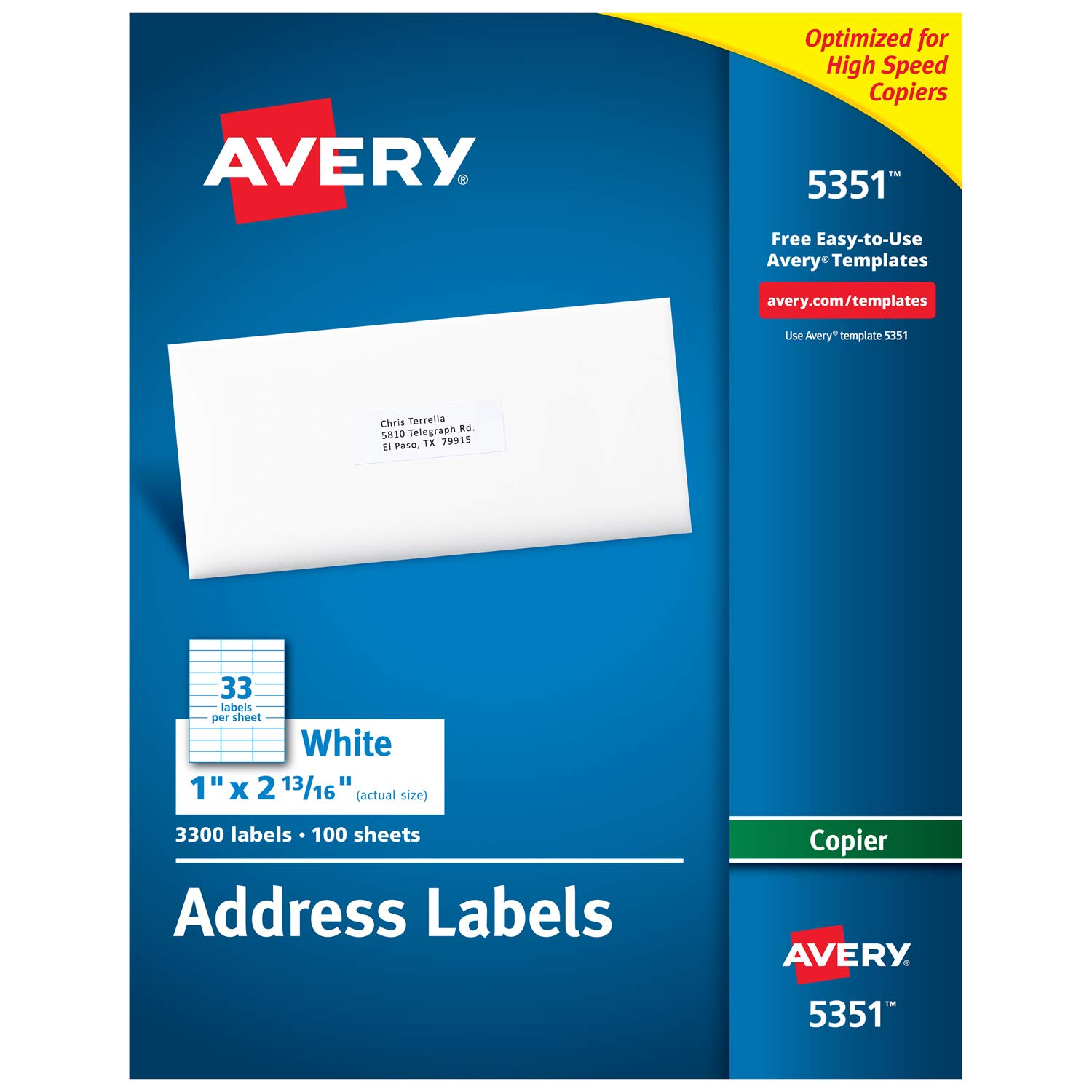 Avery Address Labels for Copiers 1 x 2-13/16, Box of 3,300 (5351), White