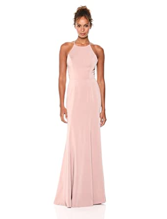 e957c6e5c49b Jenny Yoo Women's Naomi Criss Cross Back Halter Neck Fitted Crepe Long Gown,  Hydrangea,