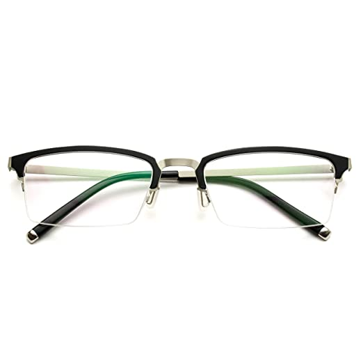 78eef92d7d Image Unavailable. Image not available for. Color  Small Square Rectangular  Nerd Glasses Thin Frame Clear Lens Optical Quality (Metal Silver and Black