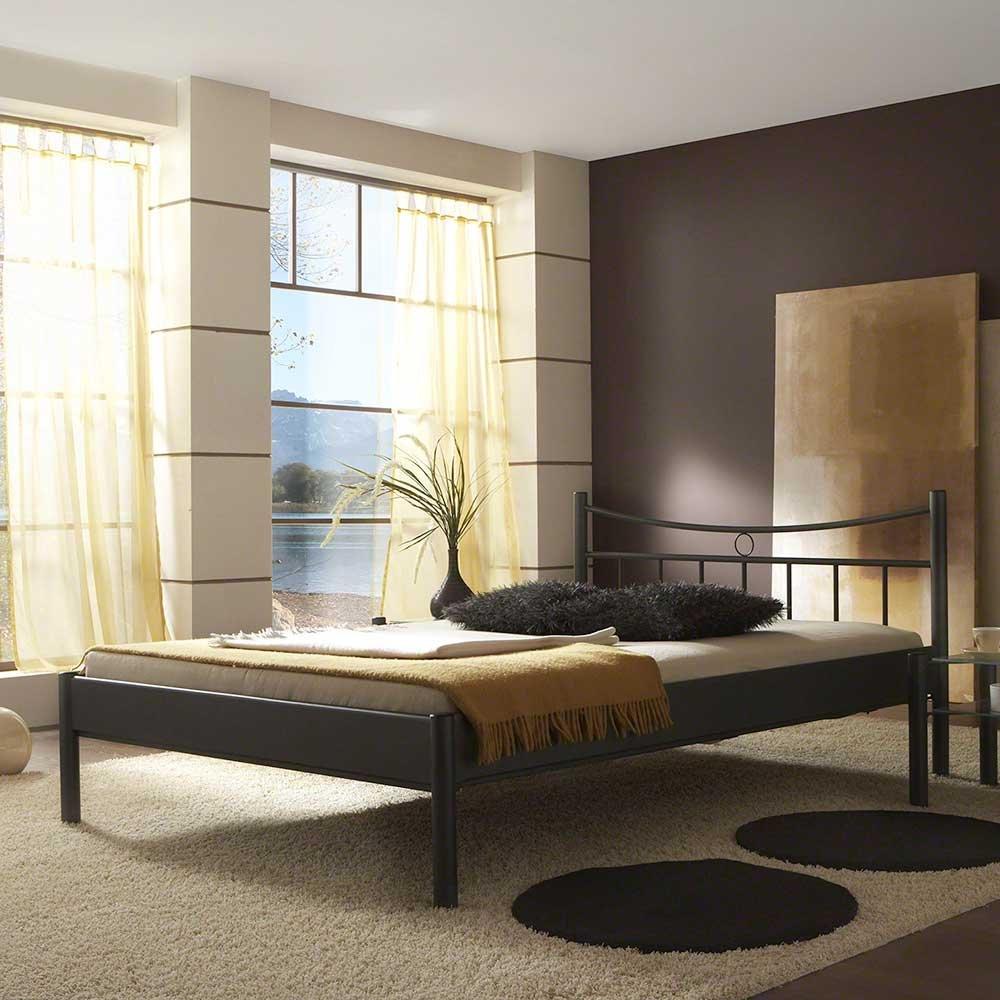 Pharao24 Bett in Schwarz pulverbeschichtet Eisen Breite 110 cm Tiefe 210 cm Liegefläche 100x200 Stütz-Steg