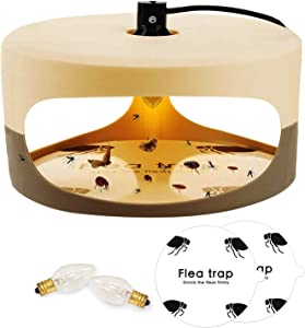 Qremove Flea Trap,Indoor Flea Trap Sticky Dome Bed Bug Trap with 2 Glue Discs & 2 Replacement Lightbulb Natural Insect Traps,Flea Killer Trap Pad Bed Best Pest Control for Home (Flea Trap)