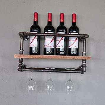 Feifei Wine Rack Iron + Solid Wood Retro Water Pipe Parrilla ...
