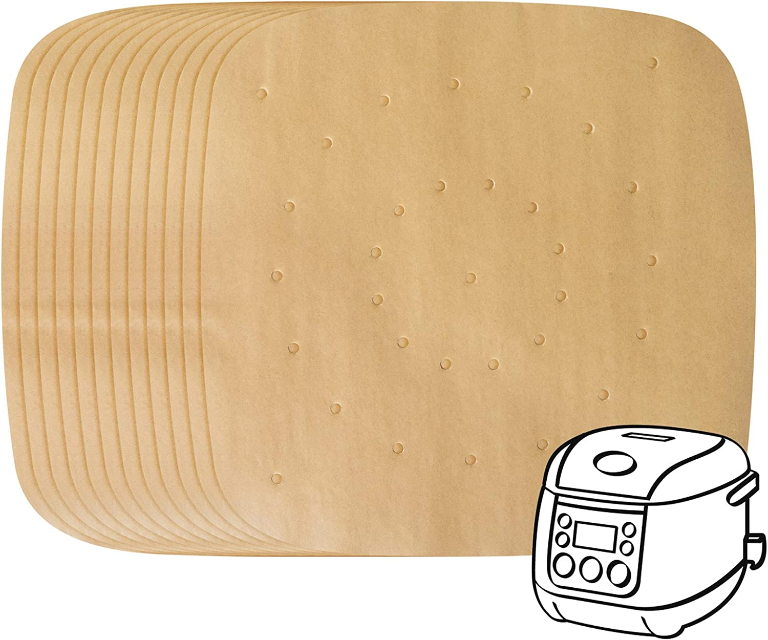 200 Pack Air Fryer Parchment Paper - 8.5 Inches Square Air Fryer Liners Steaming Parchment Liner Perforated Parchment for Air Fryer Streamer Pans Dumplings Fish and Dim Sum