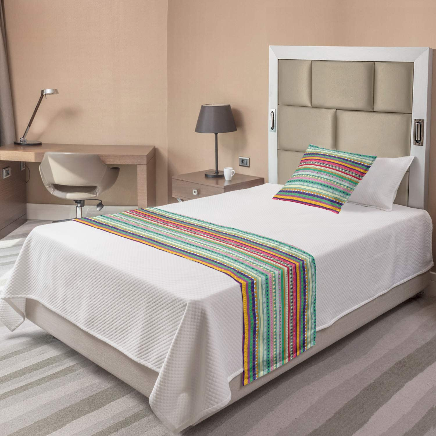 Lunarable Ethnic Bed Runner Set, Doodle Style Colorful Stripes with Circles Triangles and Arrow Timeless Art, Decorative Bedding Scarf and a Pillow Sham for Hotels Homes, Twin, Teal Magenta