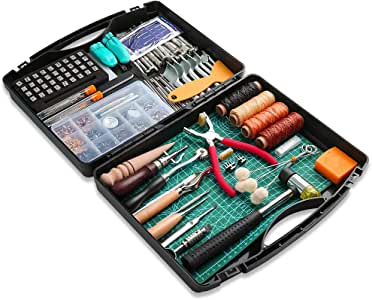 273 Pieces Leather Working Tools and Supplies with Leather Tool Box Cutting Mat Hammer Stamping Tools Needles Snaps and Rivets Kit Perfect for Stitching Punching Cutting Sewing Leather Craft Making