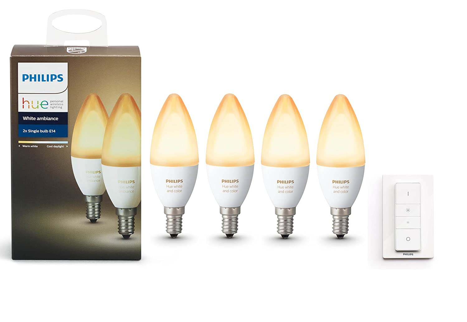 Hue Lampen E14 : Philips hue white ambiance twin pack e and dimmer switch