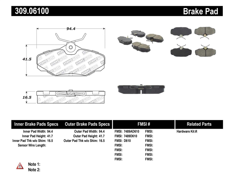 StopTech 309.06100 Street Performance Rear Brake Pad