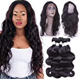Flady 360 Lace Frontal with Bundles 8a Brazilian Body Wave Virgin Human Hair 3 Bundles with Pre-plucked 360 Lace Band Frontal with Baby Hair