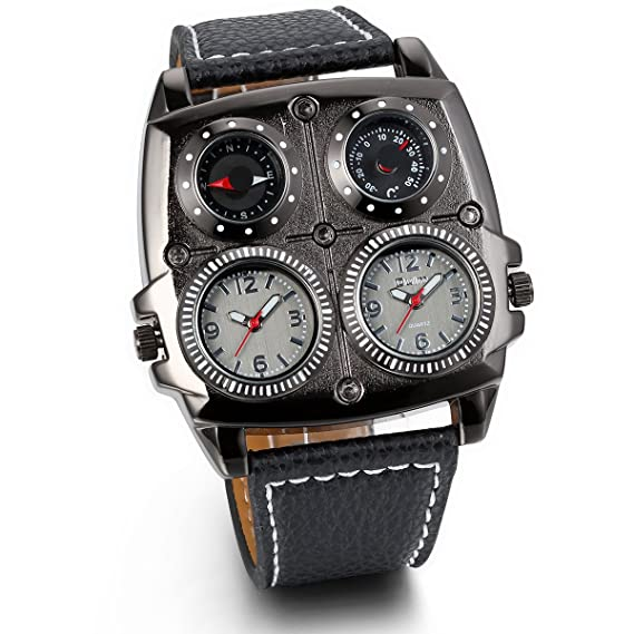 JewelryWe Reloj Militar Deportivo de Hombres Chicos, Tiempo Dural Grande Reloj de Piloto Punky, Brújula y Termómetro Decorativos Correa Cuero Negro, ...