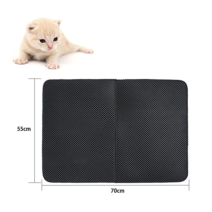 Ardermu Impermeable camada estera para gatos - Alfombra para camadas de capa doble con capa base impermeable - 27.6 x 21.7 pulgadas Fácil de limpiar ECO ...
