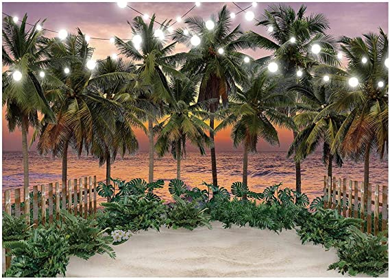 ALUONI 5x3ft Landscape,Scenic Seaside Sunset Wavy Waters Seafoam Trees Forest Hill Backdrop for Photography Photo Background for Family Party Pictures Customized Photo Booth Studio Props AM020070