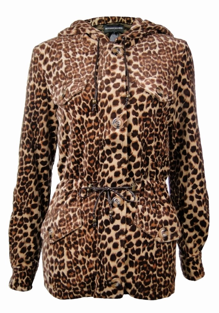 Sutton Studio Women's Leopard Anorak Jacket Petites (PL) [Apparel] [Apparel] by Sutton Studio