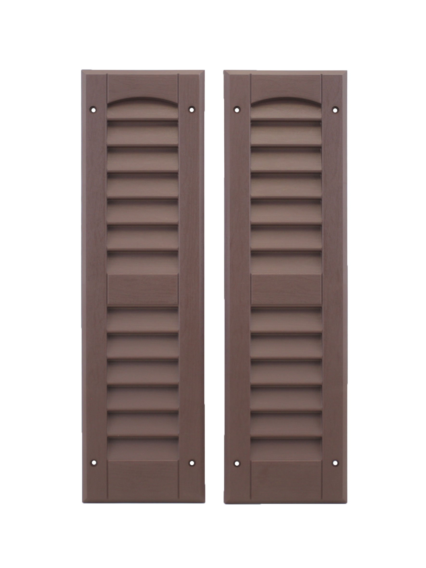 Louvered Shed Shutter or Playhouse Shutter, Brown 6'' X 21'', 1 Pair