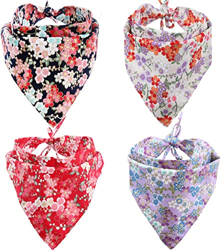 KZHAREEN 4 Pack Dog Bandanas Triangle