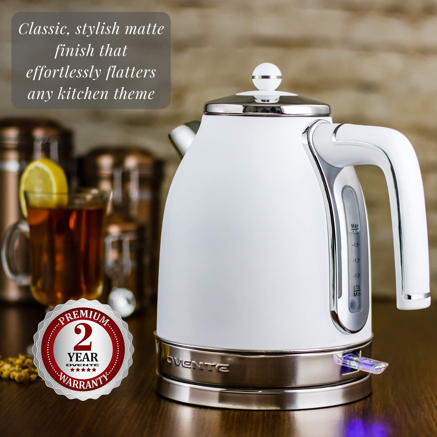 Ovente KS777W Victoria Collection Electric Kettle, Premium Matte Stainless Steel & BPA-Free, Removable Anti-Scale Filter, Centered Water Gauge, White, 1.7L,