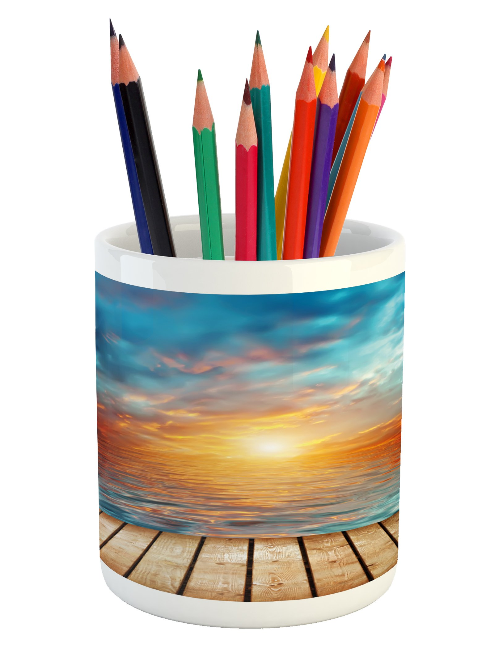 Lunarable Ocean Pencil Pen Holder, Dramatic Sunset Over The Sea Twilight Scenery Beach Skyline Coast Photo, Printed Ceramic Pencil Pen Holder for Desk Office Accessory, Aqua Orange Pale Brown