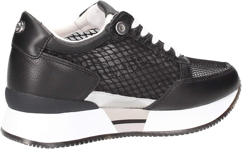 Apepazza Sneakers Casual Donna Pelle Traforata Nera. Fondo in Gomma Bianca con Rialzo da 4cm. Nero