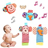 Amazon Price History for:Baby Socks Toys, Tinabless Baby Wrist Rattle and Foot Rattles Finder Socks Monkey and Elephant Toys Set, Organic Cotton Socks for Infant and Toddler (4 Packs)