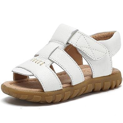 QZBAOSHU Été Garçons Sandales Filles Plage Chaussures De Plein air Sport  Décontractée Fermé-Toe Cuir fe245b5e29f3