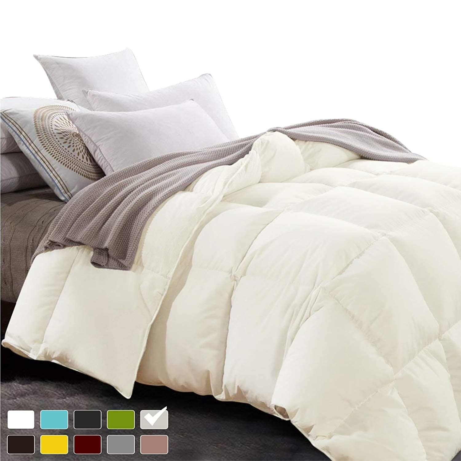 New York Mercado 100/% Organic Cotton Comforter Luxury and Premium Quality Quilted with Corner Tabs 500 GSM GOTS Certified 800 TC All Season Warm Fluffy Ultra-Soft Comforter Full//Queen Black