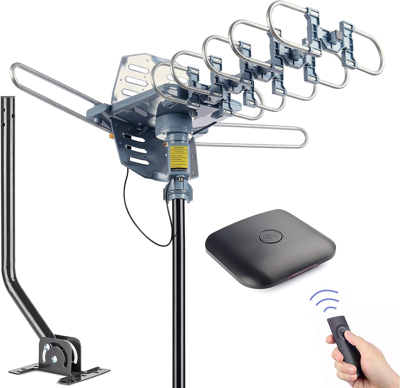pingbingding Antena de TV Digital HD para Exteriores, rotación de 360 Grados motorizada de 150 Millas con Poste de Montaje y Cable coaxial RG6 de 40 ...