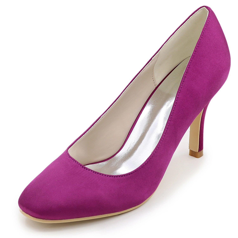 púrpura Eleboeb zapatos De Boda De Las mujeres Flores De Encaje Chunky Evening OtoñO Cerrado Tacones Altos   8.5cm TalóN
