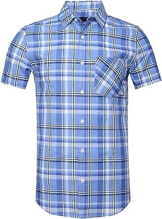 SOOPO Camisa a Cuadros Grandes Shirt de Manga Corta Estampados de Cuadro para Hombre, Camiseta Bonita y Cómoda para Verano, Diversos Colores y Tallas: Amazon.es: Ropa y accesorios