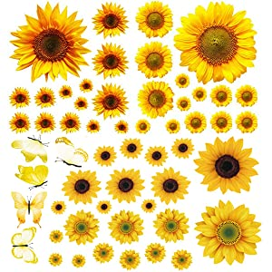 Sunflower Wall Stickers with 3D Butterfly, 55Pcs Removable Yellow Flower Wall Decals Waterproof Sunflower Decor Mural, for Nursery Baby Kids Bedroom Living Room Bathroom Kitchen Decoration