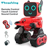 Threeking Smart Robot Toys Remote Control/Touch / Sound Control Robot Gift for Boys Girls Kid's Companion:Money Management Game Fun Learning Music Dance Etc.Rechargeable Robot Kit-Red