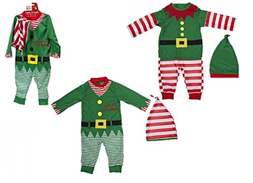 6e4d8fcf18db1 Toddler / Baby Christmas Elf Outfit. Romper and Hat. 2 Designs (6-9 Months,  Green Striped)