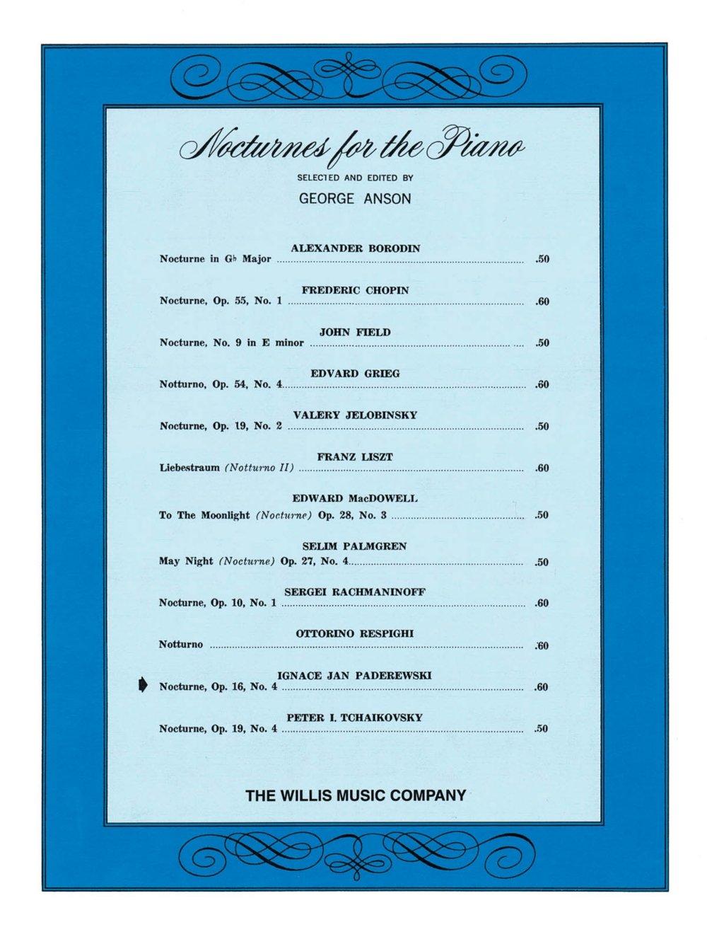 Download Willis Music Nocturne, Op. 16, No. 4 (Later Inter) Willis Series by Ignacy Jan Paderewski PDF