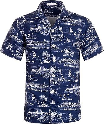 LI-Beauty Mens Short Sleeve Shirts Palm Tree Button Down Casual Beach Hawaiian Shirt