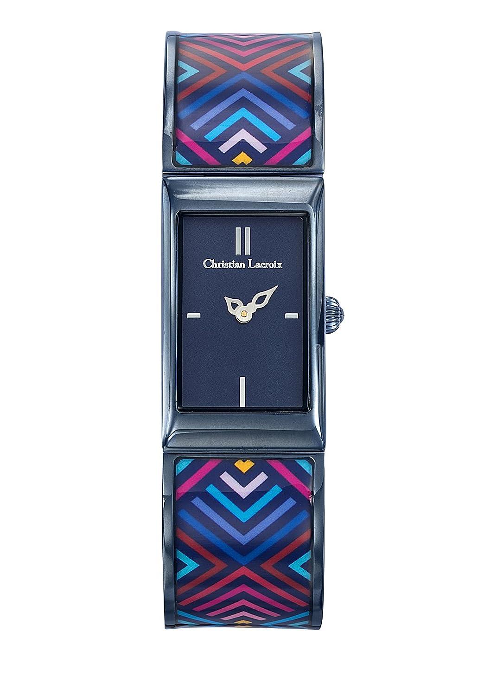 Zeigt Damen – Christian Lacroix – unglaubliche Armband Stahl PVD Blau lackiert bedruckt – 8010208