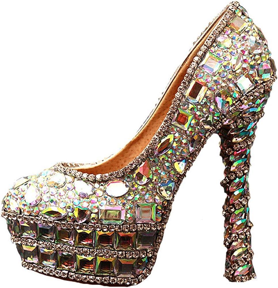 Jianda Womens Crystal High Heel Pump Prom Party Bridal Shoes