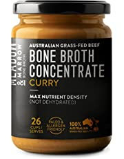 Meadow & Marrow Beef Bone Broth Concentrate - Curry Flavour - 260 Grams - Australian Grass Fed Beef -10 X More Amino Acids/G* - Free from Gluten, Diary, Nuts & Soy